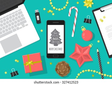 Flat modern Christmas banner design with smartphone, laptop computer and Christmas decorations. Vector illustration