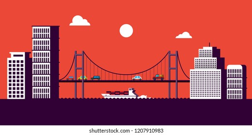 Flat Modern City Illustration