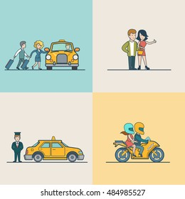 Flat Modern couple catching cab, motorcycle and VIP Taxi service vector illustration set. City Passenger Transportation concept.