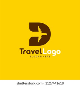 Flat Modern D Initial Travel logo designs concept vector