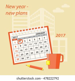 Flat  modern design concept of business strategy, planning. Page of calendar january 2017,  cup of tea  and pencil on the construction background. EPS 10.