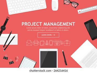 Flat modern design concept for project management website banner