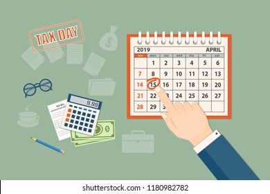 Flat modern design concept of tax day, taxes counting time with human finger showing at the date 15 april 2019. Mockup of the April 2019 year page of the spiral desk calendar. EPS 10