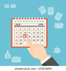 Flat modern design concept of tax day; business time, payments time, tax time  with human finger showing at the date 17 april 2018 of the page of the calendar. EPS 10
