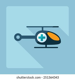 Flat modern design with shadow helicopter ambulance