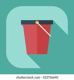 Flat modern design with shadow icon bucket