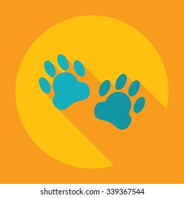 Flat modern design with shadow Icon  trace dogs