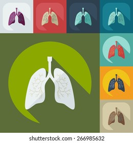 Flat modern design with shadow icons lungs