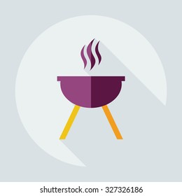 Flat modern design with shadow icons barbecue