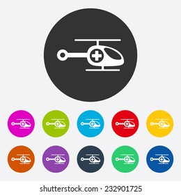 Flat modern design with shadow, SEO. Icons mobile applications and web design. Working optimization:  helicopter ambulance