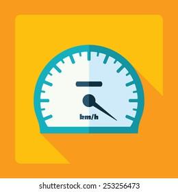 Flat modern design with shadow, speedometer, speed indicator