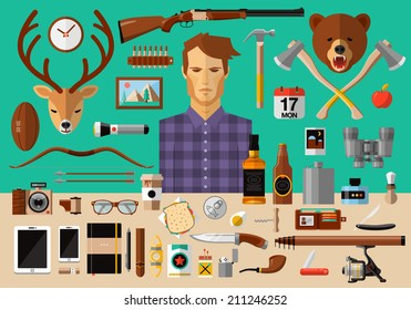 Flat modern design vector icons set of real man tools and equipment. Icon collection in stylish colors of gentleman things, stuff, goods, items, elements, objects. Hunter, fisherman, hipster workspace