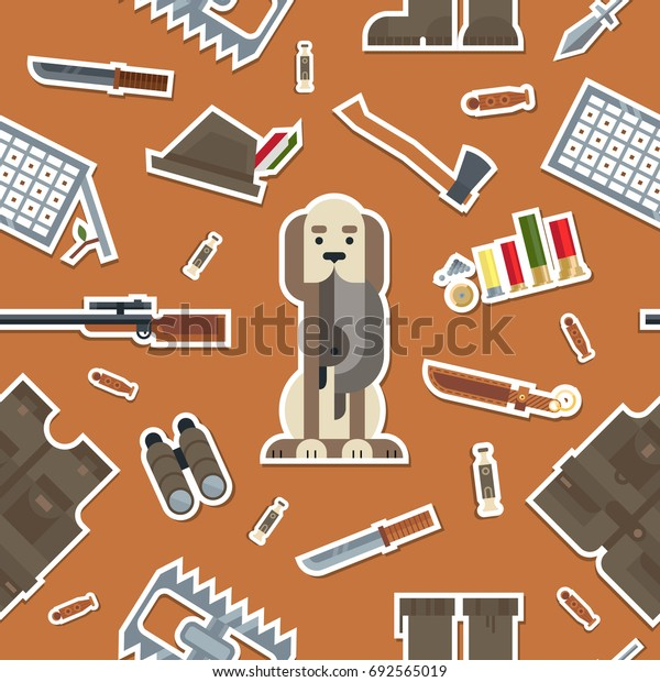 Flat modern design vector icons pattern of real man tools and equipment. Icon pattern in stylish colors of gentleman hunting things, stuff, goods, items, elements, objects. Vector illustration.