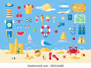 Flat modern design vector illustration concept of planning a summer vacation, travel on holiday journey, tourism stuff and travel objects, passenger luggage and equipment. Icons collection set.