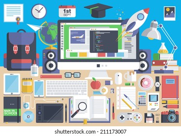 Flat modern design vector illustration concept of creative school desktop, workspace, workplace. Icon collection in stylish colors of education process, office items, tools, devices, elements, objects