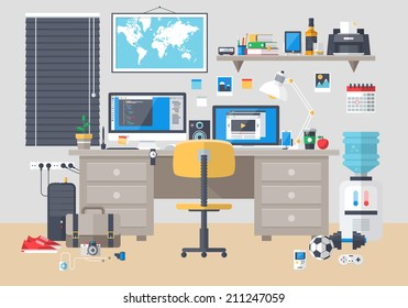 Flat modern design vector illustration concept of creative office room interior workspace, workplace. Icon collection stylish colors business work flow items elements, things, equipment, objects.