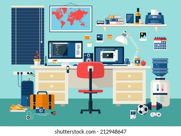 Flat modern design vector illustration concept of creative office room interior workspace, workplace. Icon collection stylish colors business work flow items elements, things, equipment, objects