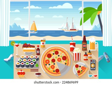 Flat modern design vector illustration concept of creative living room workspace, workplace with tasty food on the table. Items, essentials, things, equipment, elements, objects, tools