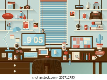 Flat modern design vector illustration concept of office workspace, workplace, desktop. Business work flow items, essentials, things, equipment, elements, objects, development tools. Room interior