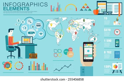 Flat modern design vector illustration concept of creative office workspace, workplace. Icon collection in stylish colors of business work flow items, elements. Infographics elements with World map