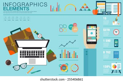 Flat modern design vector illustration concept of creative office workspace, workplace. Icon collection in stylish colors of business work flow items, elements. Infographics elements