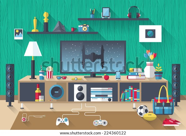 Flat modern design vector illustration concept of creative living room workspace, workplace with TV set, furniture and long shadows. Items, essentials, things, equipment, elements, objects, tools