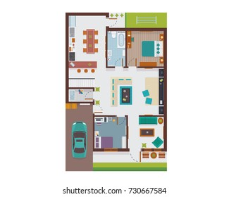 Flat Modern Family House Interior And Room Spaces From Top View Illustration Showing Living Room, Dining Room, Kitchen, Bedroom, Family Room, and Garage.
