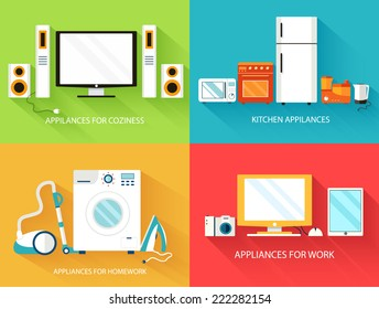 Flat modern home electronics appliances set icons concept. Vector illustration design