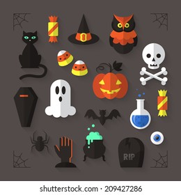 Flat modern icons for Halloween holiday. Vector illustration