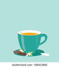 Flat modern illustration of the single tea mug on the blue background. Organic healthy drink served with chocolate cookies. Text space on the top of the image.