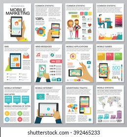 Flat modern infographics set with charts, icons, map, diagrams, other elements. Design style concept of digital advertising technologies on mobile devices. People use smartphone. Vector illustration.