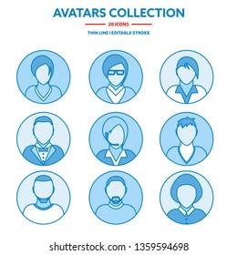 Flat modern minimal line avatar icons. Business concept, global communication. Web site user profile. Social media, network elements.