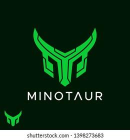 flat modern Minotaur bull initial M monogram logo design inspiration