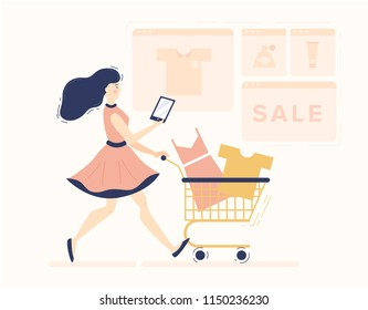 Flat modern style illustration of e-commerce and online shopping. Woman doing online purchase with cart by tablet. Online store of  clothes and cosmetics
