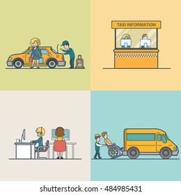 Flat Modern Taxi information and call centre, woman with baggage, service for people with disabilities vector illustration set. City Passenger Transportation concept.