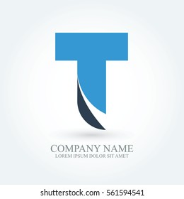flat modern typography initial letter t, alphabet logo design for brand and company identity