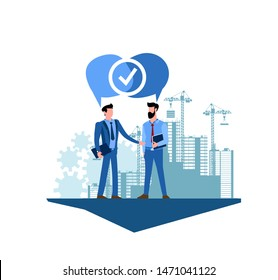 Flat modern vector illustration of a two businessmen contract design. Two businessmen have agreed on the construction and sale of housing. Two people reached an agreement the construction of buildings