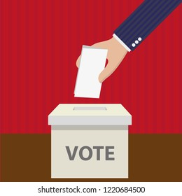 Flat modern vector illustration of voting. Hand holding a ballot paper and a box labeled Vote. Background is red and brown.