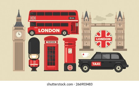Flat modern vector London, the capital of Great Britain icon set