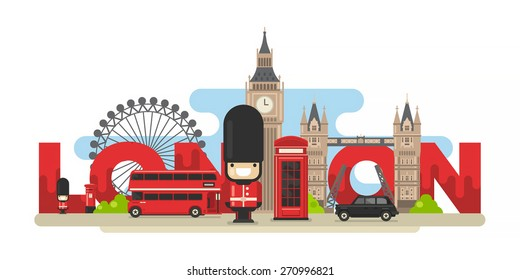 Flat modern vector London, the capital of Great Britain with Big Ben, bridge, double decker, black cab and telephone