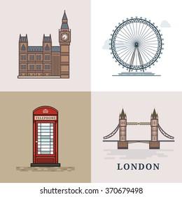 Flat modern vector London, the capital of Great Britain with Big Ben, bridge, telephone and London Eye. Line art vector background. London logo. London vector. London illustration. Big Ben. London