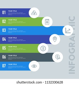 Flat money infographic steps template with 7 options for presentations, advertising, annual reports.