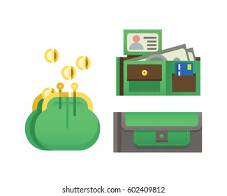 Flat money wallet icon check list making purchase cash business currency finance payment and purse savings bank commerce dollar economy vector illustration.