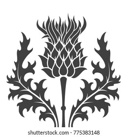flat, monochrome silhouette thistle symbol of Scotland over white background