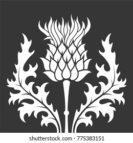 flat, monochrome silhouette thistle symbol of Scotland