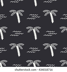 Flat monochrome vector seamless summer pattern. Wrapping paper summer pattern. Cute doodle summer pattern with palm tree and waves. Vector illustration and element for your design. Background. Summer.