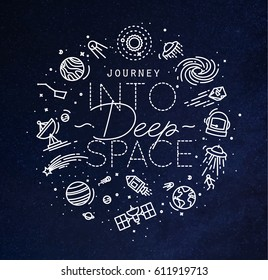 Flat monogram lettering journey into deep space drawing with white lines on blue background