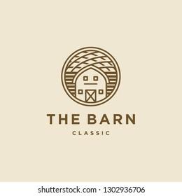 Flat Monoline Barn Logo Vector