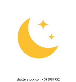 Flat Moon Icon. Night symbol. Vector illustration. EPS10.