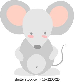 Flat mouse, illustration, vector on white background.